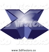 Vector Clipart of a 3d Blue X by Vectorace