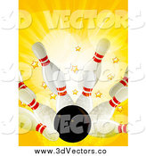 Vector Clipart of a 3d Bowling Strike with Stars and Rays by Elaineitalia