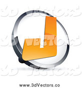 Vector Clipart of a 3d Capital Letter J over a White and Chrome Circle, with Shading by Beboy
