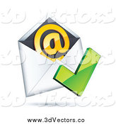 Vector Clipart of a 3d Check Mark over an Envelope with an Orange at Symbol by Beboy