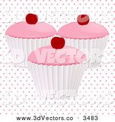 Vector Clipart of a 3d Cherry Cupcakes over Polka Dots on White by Elaineitalia