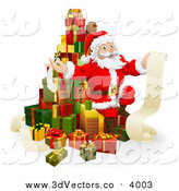 Vector Clipart of a 3d Christmas Santa Sitting on a Stack of Gifts with His List by AtStockIllustration