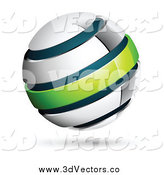 Vector Clipart of a 3d Chrome Blue and Green Globe by Beboy