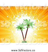 Vector Clipart of a 3d Coconut Palm Trees and Rays by KJ Pargeter