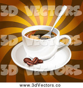 Vector Clipart of a 3d Coffee Cup with Beans over Brown Rays by Oligo