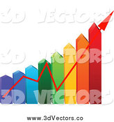 Vector Clipart of a 3d Colorful Arrow Energy Use Chart with an Arrow by Pushkin
