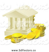 Vector Clipart of a 3d Columned Building and Gold Coins by AtStockIllustration