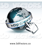 Vector Clipart of a 3d Computer Cursor Hand over a Gray and Dark Blue African WWW Globe by Beboy