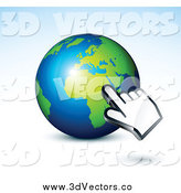 Vector Clipart of a 3d Computer Hand Cursor over an African Globe by Beboy