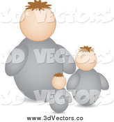 Vector Clipart of a 3d Dad and Sons Family Avatar by Andrei Marincas