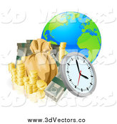 August 9th, 2014: Vector Clipart of a 3d Earth with Money and a Clock by AtStockIllustration
