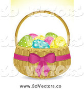 Vector Clipart of a 3d Easter Egg Basket by Elaineitalia