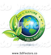 Vector Clipart of a 3d Floating American Globe with Green Leaves and 100 Percent Nature Text by Beboy