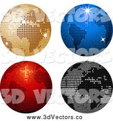 Vector Clipart of a 3d Four Sparkly Colorful Disco Ball Globes by Elaineitalia