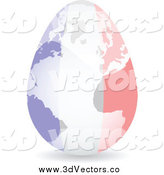Vector Clipart of a 3d French Flag Egg Globe by Andrei Marincas