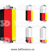 Vector Clipart of a 3d German Flag Batteries Shown at Different Charge Levels by Andrei Marincas
