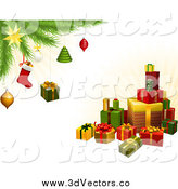 Vector Clipart of a 3d Gifts Under a Christmas Tree with Festive Ornaments by AtStockIllustration