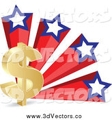 Vector Clipart of a 3d Gold Dollar Currency Symbol and American Stars by Andrei Marincas