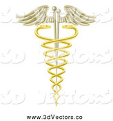 Vector Clipart of a 3d Golden Caduceus with Snakes and Acupuncture Needles by AtStockIllustration