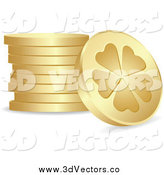 July 5th, 2014: Vector Clipart of a 3d Golden Lucky Clover Coins by Andrei Marincas