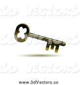 Vector Clipart of a 3d Golden Skeleton Key by MilsiArt