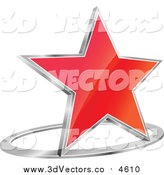 October 11th, 2015: Vector Clipart of a 3d Gradient Red Star and Chrome Ring by Vector Tradition SM