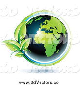 Vector Clipart of a 3d Green and Dark Blue African Globe by Beboy