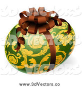 July 18th, 2014: Vector Clipart of a 3d Green and Gold Floral Easter Egg with a Bow by AtStockIllustration