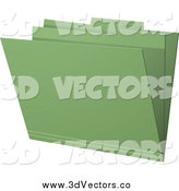 Vector Clipart of a 3d Green Folder by Elaineitalia