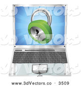 Vector Clipart of a 3d Green Padlock Emerging from a Laptop Computer by AtStockIllustration