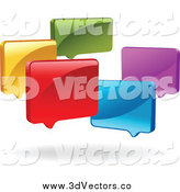 Vector Clipart of a 3d Group of Colorful 3d Live Chat Windows by Yayayoyo