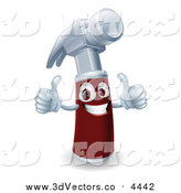 Vector Clipart of a 3d Hammer Holding Two Thumbs up by AtStockIllustration