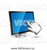 Vector Clipart of a 3d Hand Cursor on a Blue Computer Monitor by Beboy