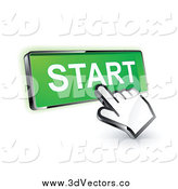 May 25th, 2014: Vector Clipart of a 3d Hand Cursor on a Green Start Button by Beboy