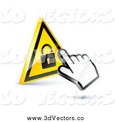Vector Clipart of a 3d Hand Cursor on a Yellow Lock Button by Beboy
