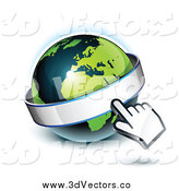 June 20th, 2014: Vector Clipart of a 3d Hand Cursor Pointing at a Banner on a Green and Dark Blue African Globe by Beboy