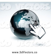 Vector Clipart of a 3d Hand Cursor Pointing at a Gray and Dark Blue African Globe by Beboy