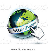 Vector Clipart of a 3d Hand Cursor Pointing at a Green and Dark Blue African Globe by Beboy