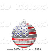 Vector Clipart of a 3d Hanging American Flag Christmas Bauble by Andrei Marincas