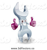 Vector Clipart of a 3d Happy Wrench Character Giving Two Thumbs up by AtStockIllustration