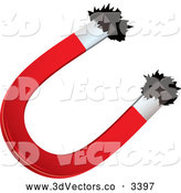 Vector Clipart of a 3d Horseshoe Magnet and Iron Filings by Michaeltravers
