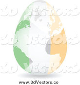 Vector Clipart of a 3d Irish Flag Egg and Map by Andrei Marincas
