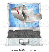 Vector Clipart of a 3d Letter in a Mailbox Emerging from a Laptop by AtStockIllustration