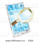 Vector Clipart of a 3d Magnifying Glass Emerging from a Smart Phone by AtStockIllustration