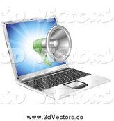 Vector Clipart of a 3d Megaphone Floating out from a Laptop by AtStockIllustration