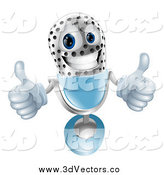 Vector Clipart of a 3d Microphone Holding Two Thumbs up by AtStockIllustration