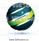 Vector Clipart of a 3d Navy Blue and Green Globe by Beboy