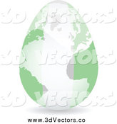 Vector Clipart of a 3d Nigerian Flag Egg Globe by Andrei Marincas