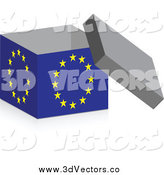 Vector Clipart of a 3d Open European Flag Box by Andrei Marincas