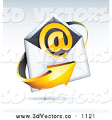 Vector Clipart of a 3d Orange Arrow Around an Envelope and Email at Symbol, on a Shaded Background by Beboy